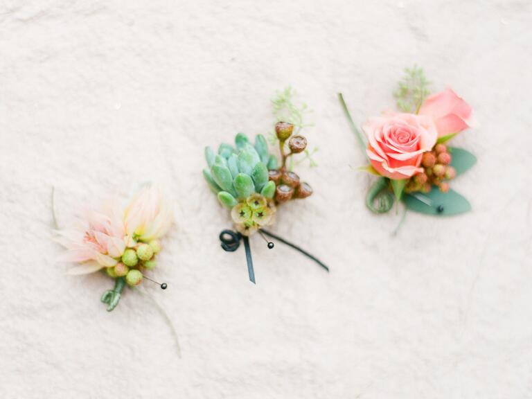 Bridal veil potea, succulent, and rose boutonnieres