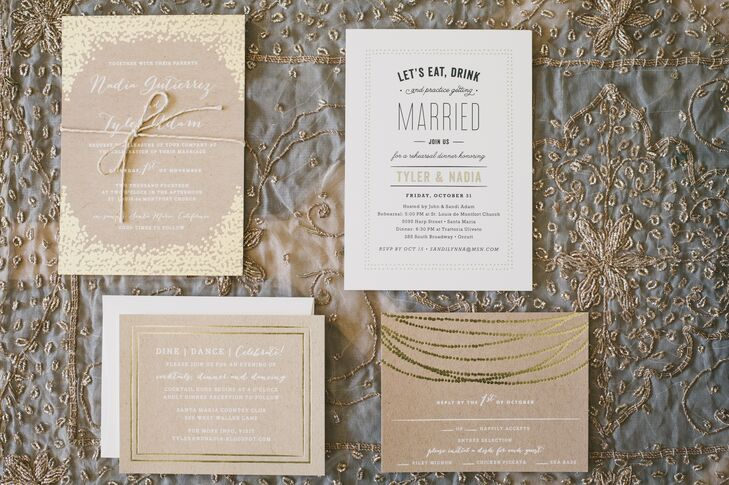 Nadia and Tyler ordered their white and kraft paper wedding invitations from Minted, designed with gold details that varied from page to page.