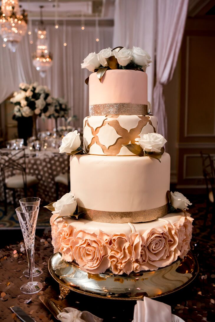 Intricate Four Tier Wedding Cake in Blush, Gold and Ivory