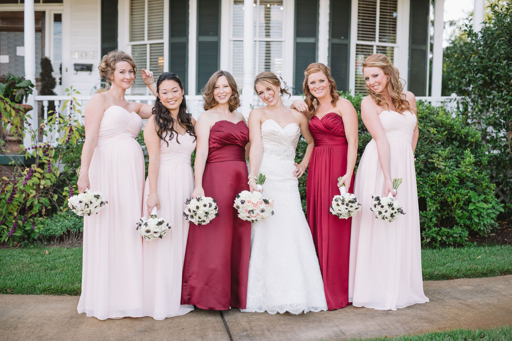 Mixed Burgundy And Blush Bridesmaid Dresses