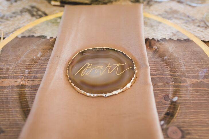 Gold Calligraphy Agate Place Card