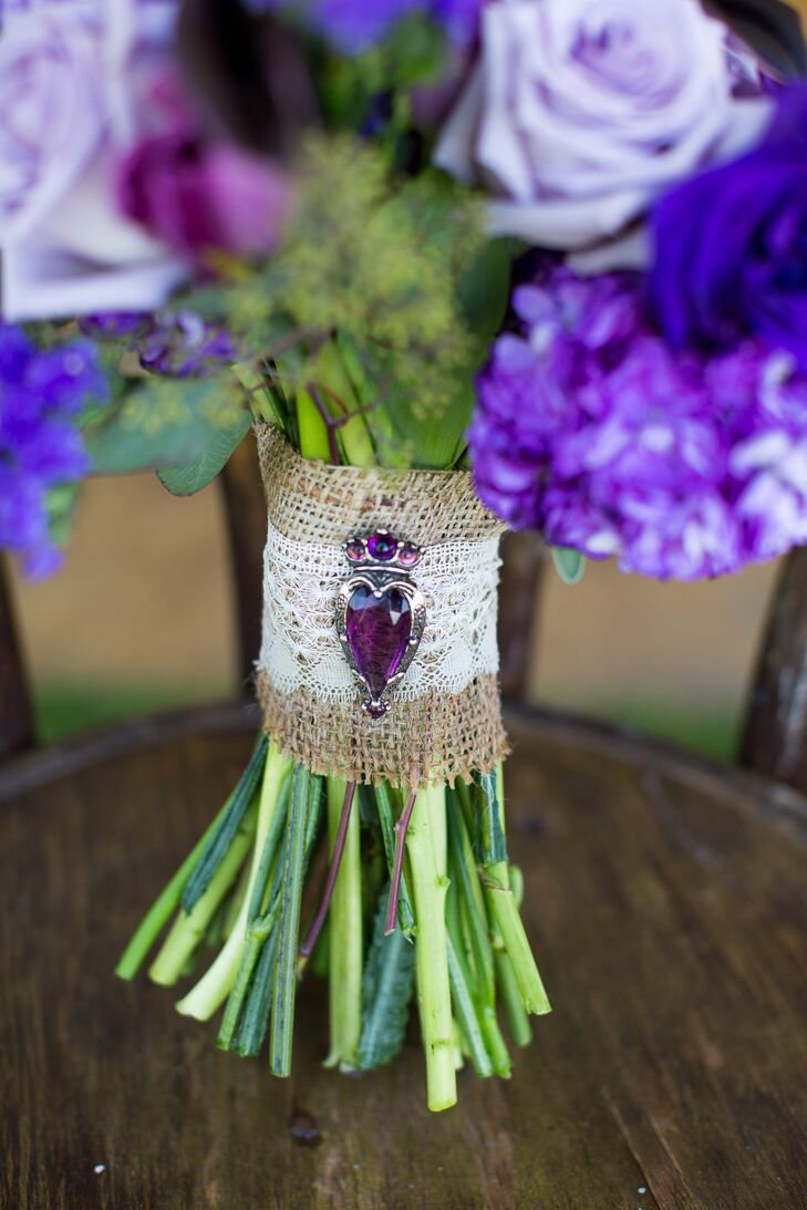 Canvas and Lace Bouquet Wrap With Purple Brooch