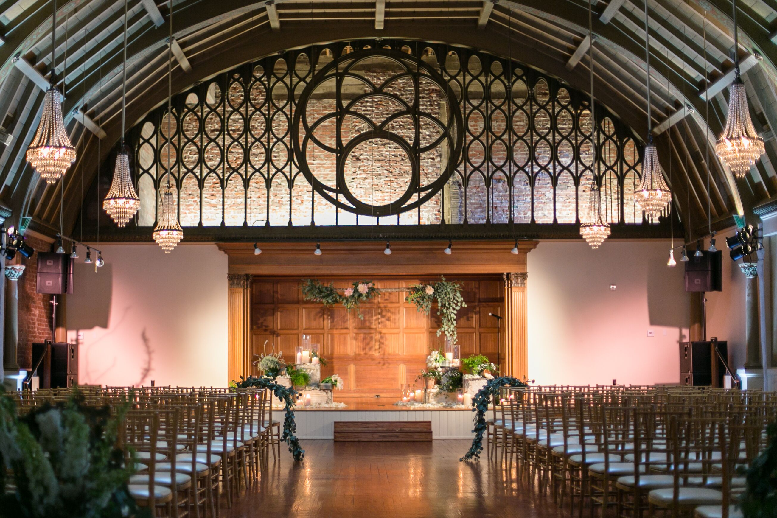 Elegant Drapery At Indoor Ceremony: Elegant, Modern Indoor Loft Ceremony
