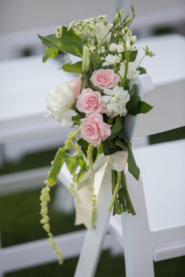Pink Garden Rose and Amaranthus Aisle Marker