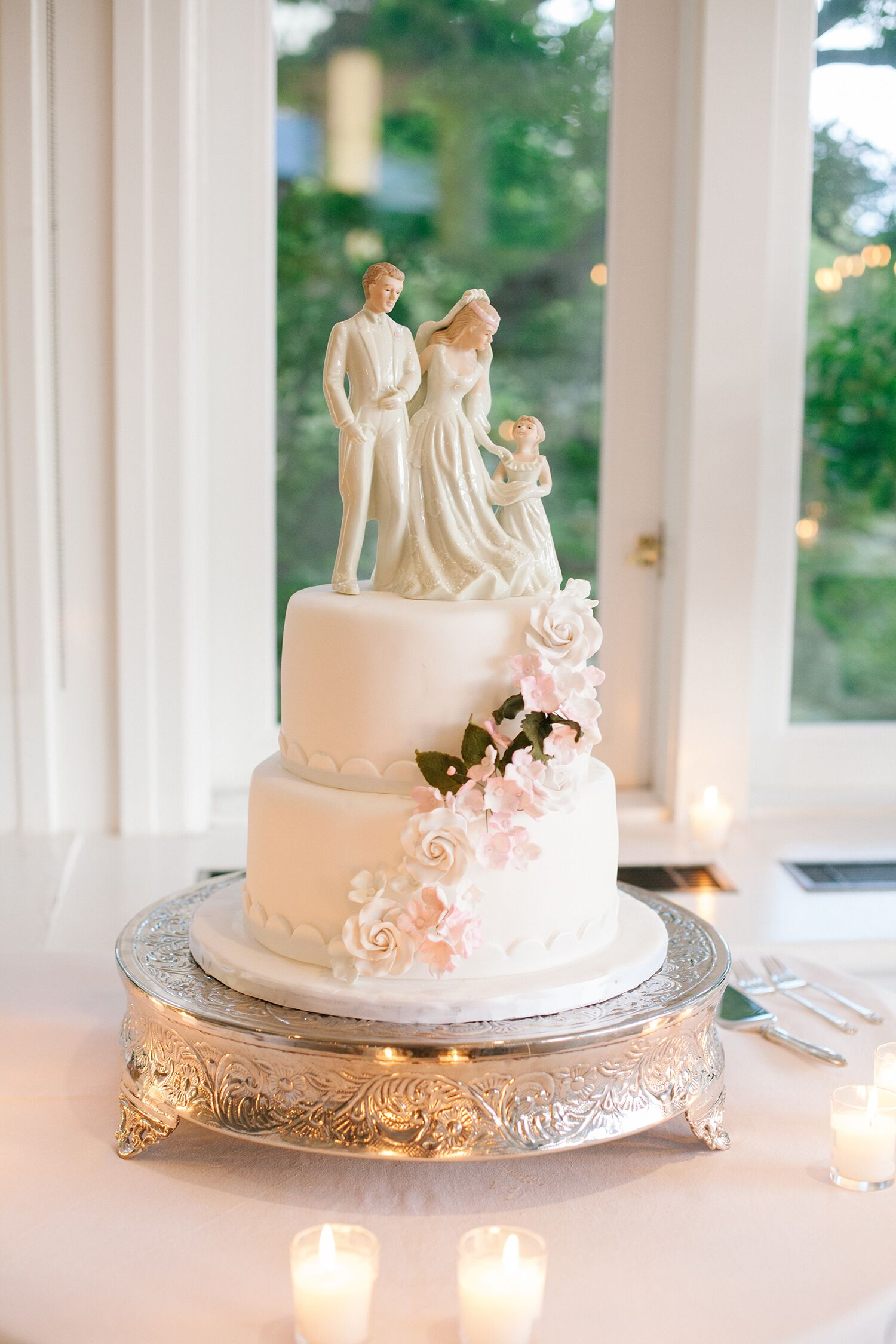 Vintage Couple and Child Wedding Cake Topper