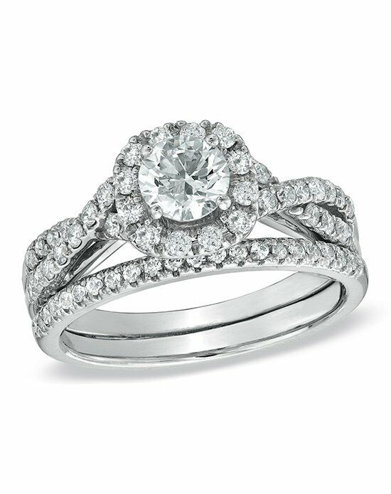 Zales 1-1/6 CT. Diamond Frame Twist Bridal Set in 14K White Gold  18277152 Engagement Ring photo