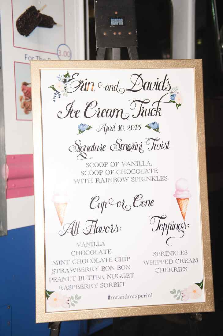 Wedding reception ice cream truck menu