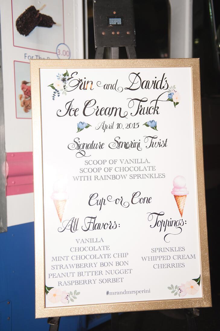 Wedding reception ice cream truck menu