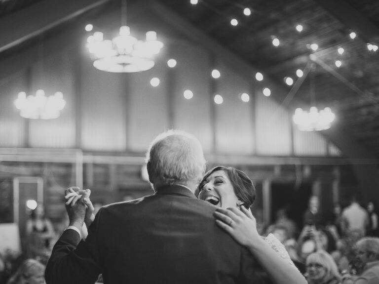 Father Daughter Dance At Rustic Barn Wedding Reception