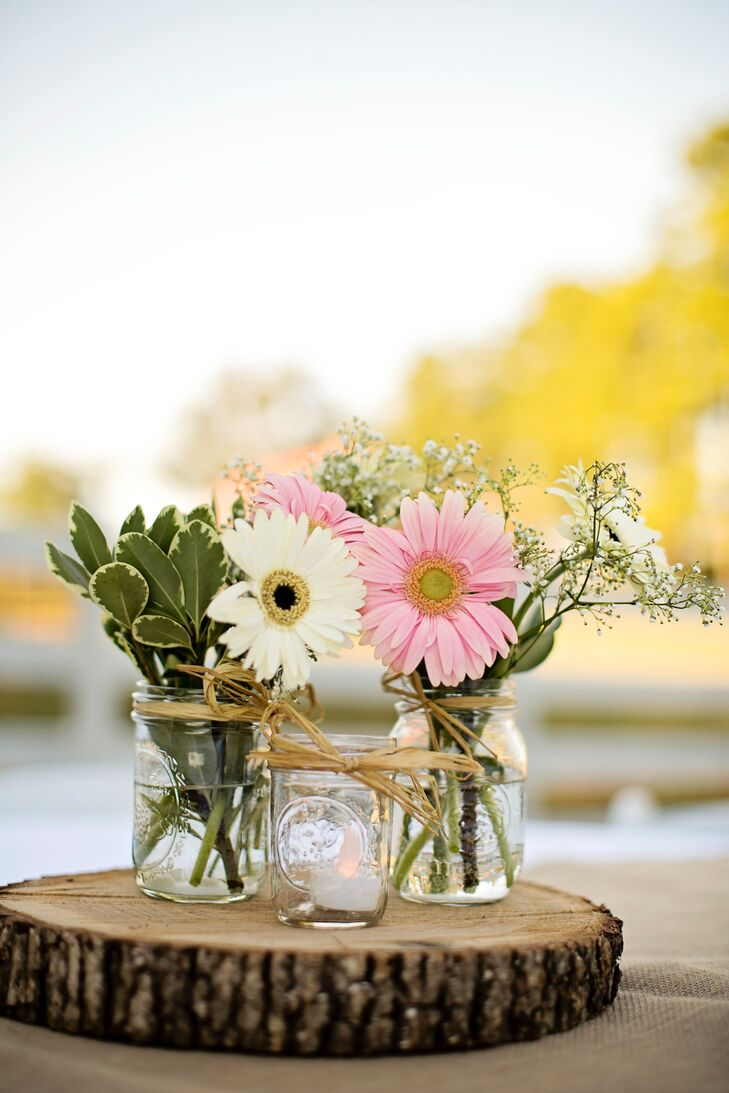 Gerber daisy and baby s breath centerpieces