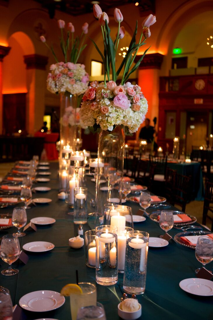 Tall modern hydrangea and tulip centerpieces