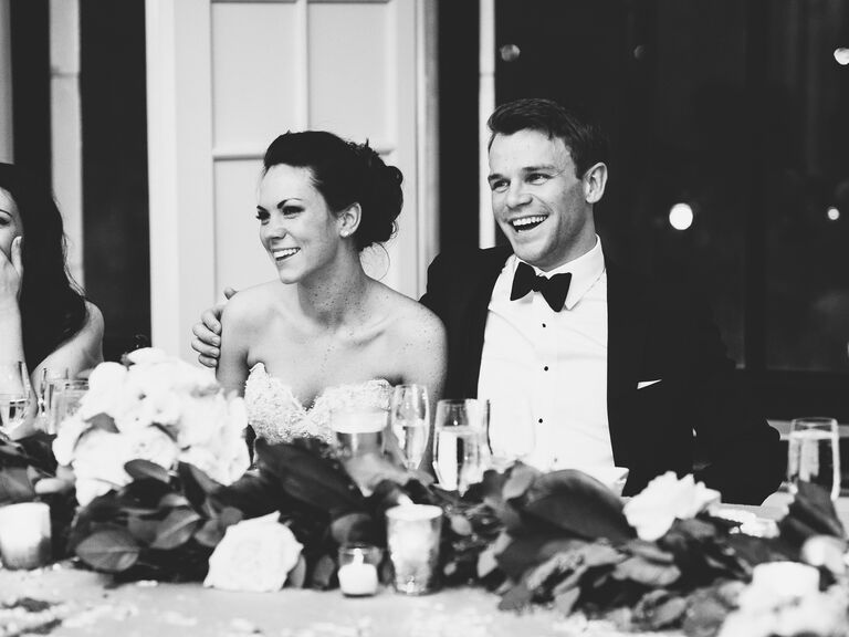 Bride and groom's reactions to wedding reception toasts