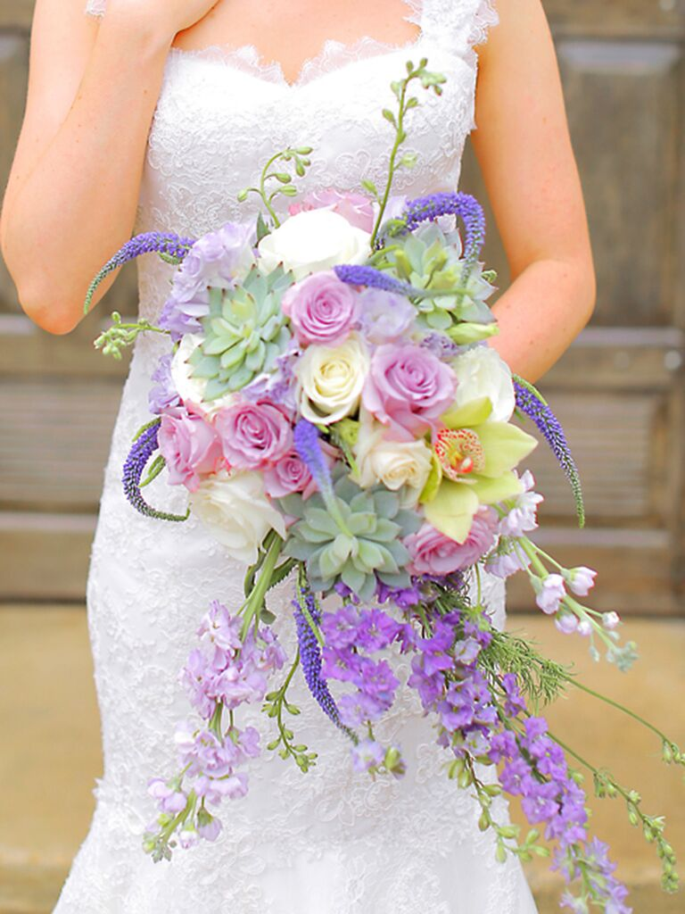 Purple Cascade Wedding Bouquet With Orchids Veronica Roses Stock Flower And A Succulent
