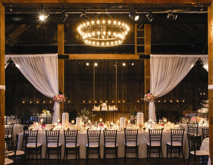 The head table was a king's table. The linen on the head table was a silver bollywood linen with a white eyelet runner.