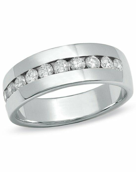 Zales Men's 1 CT. T.W. Channel Set Diamond Wedding Band in 14K White Gold  19733641 Wedding Ring photo