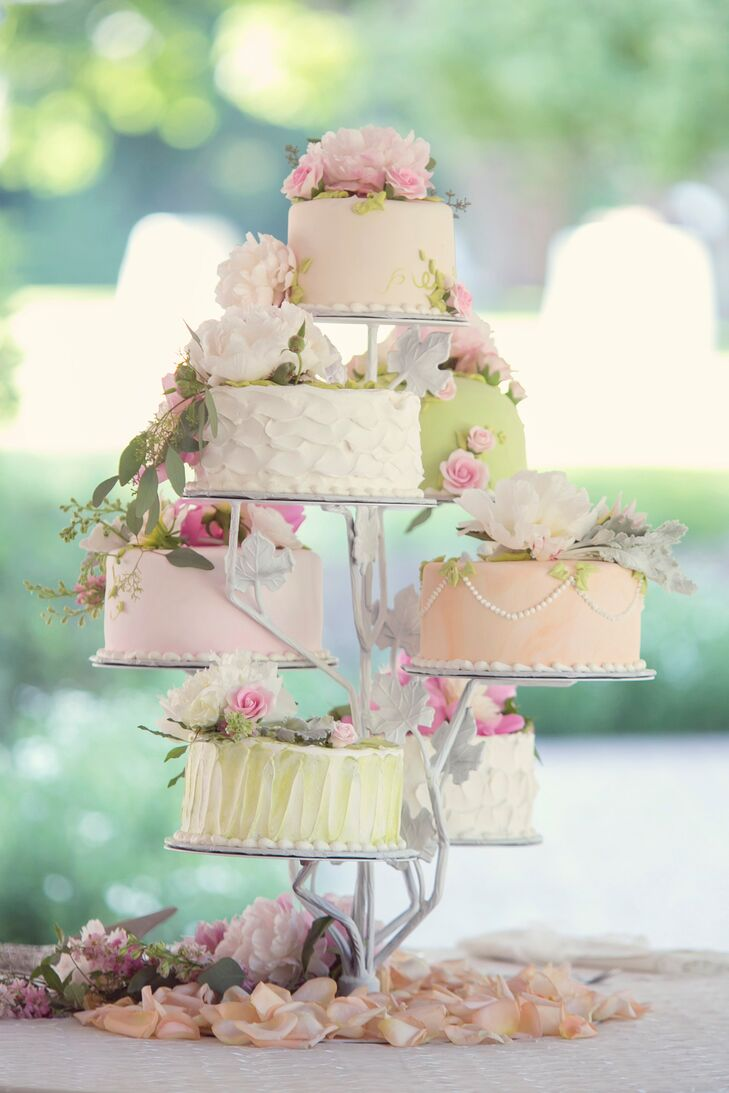 Pastel Colored Buttercream Wedding Cake Tiers