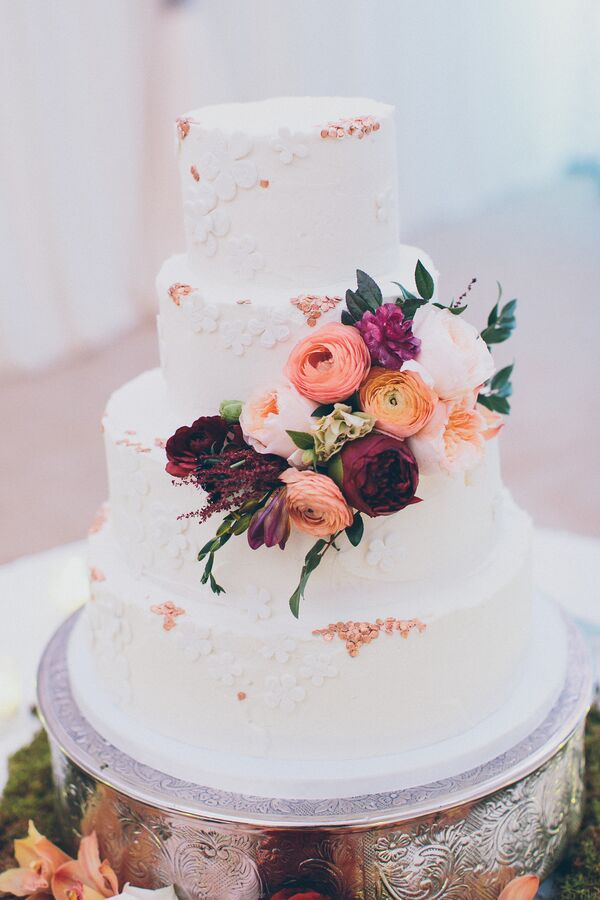 Tiered Cake with Real and Fondant Flowers