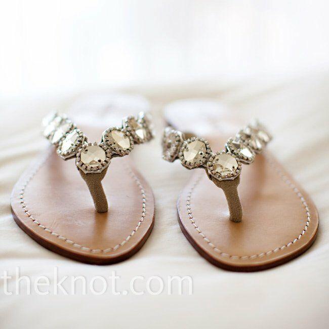 b934cdbd578b Katie s rhinestone flip-flops were perfect for a beachside wedding.