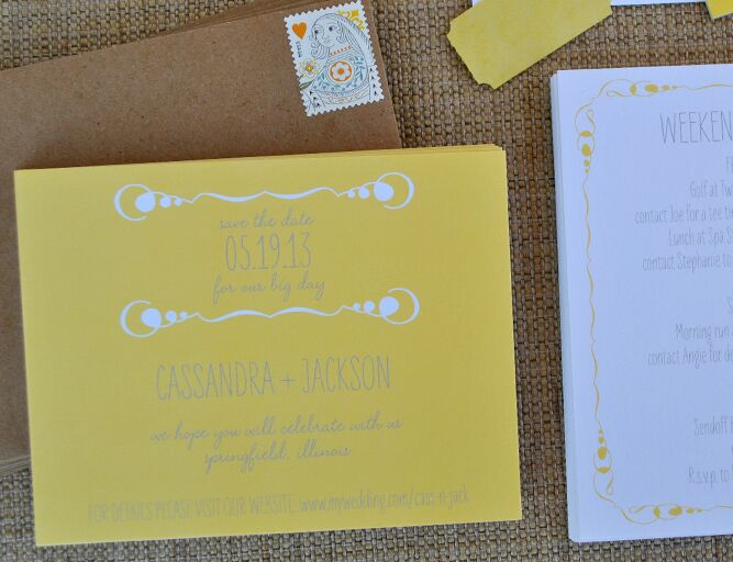 Wedding color save-the-date from Delphine Press