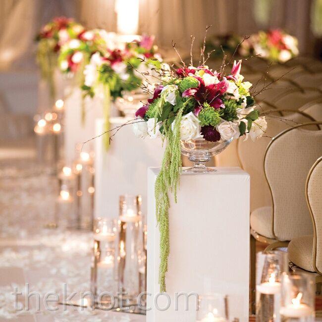 Pedestal Floral Aisle Arrangements