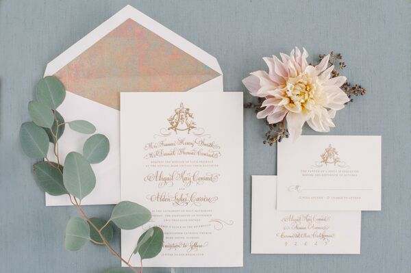 Classic Invitation with Monogram Seal and Gold Calligraphy