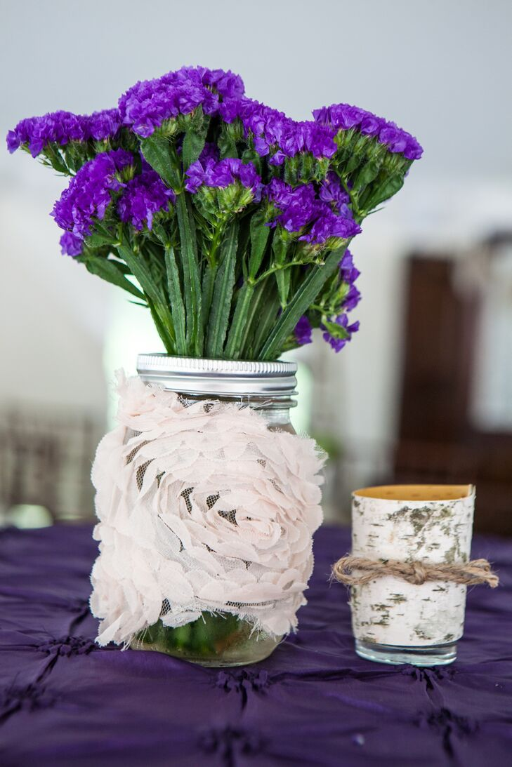 Purple And White Flower And Birch Table Decor