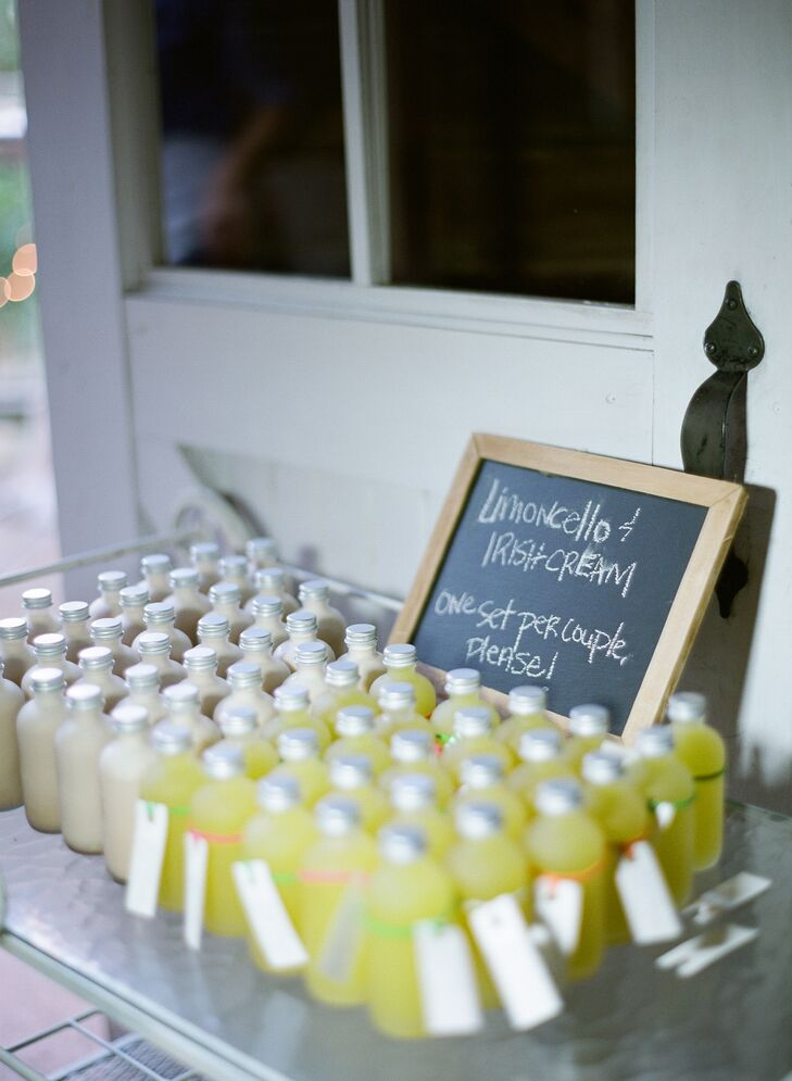 Homemade Limoncello wedding favors and a DIY photo booth added just the right amount of personal flair to the couple's rustic reception.