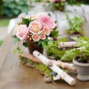 Rustic wedding centerpieces rose birch log and fern centerpieces junglespirit Choice Image