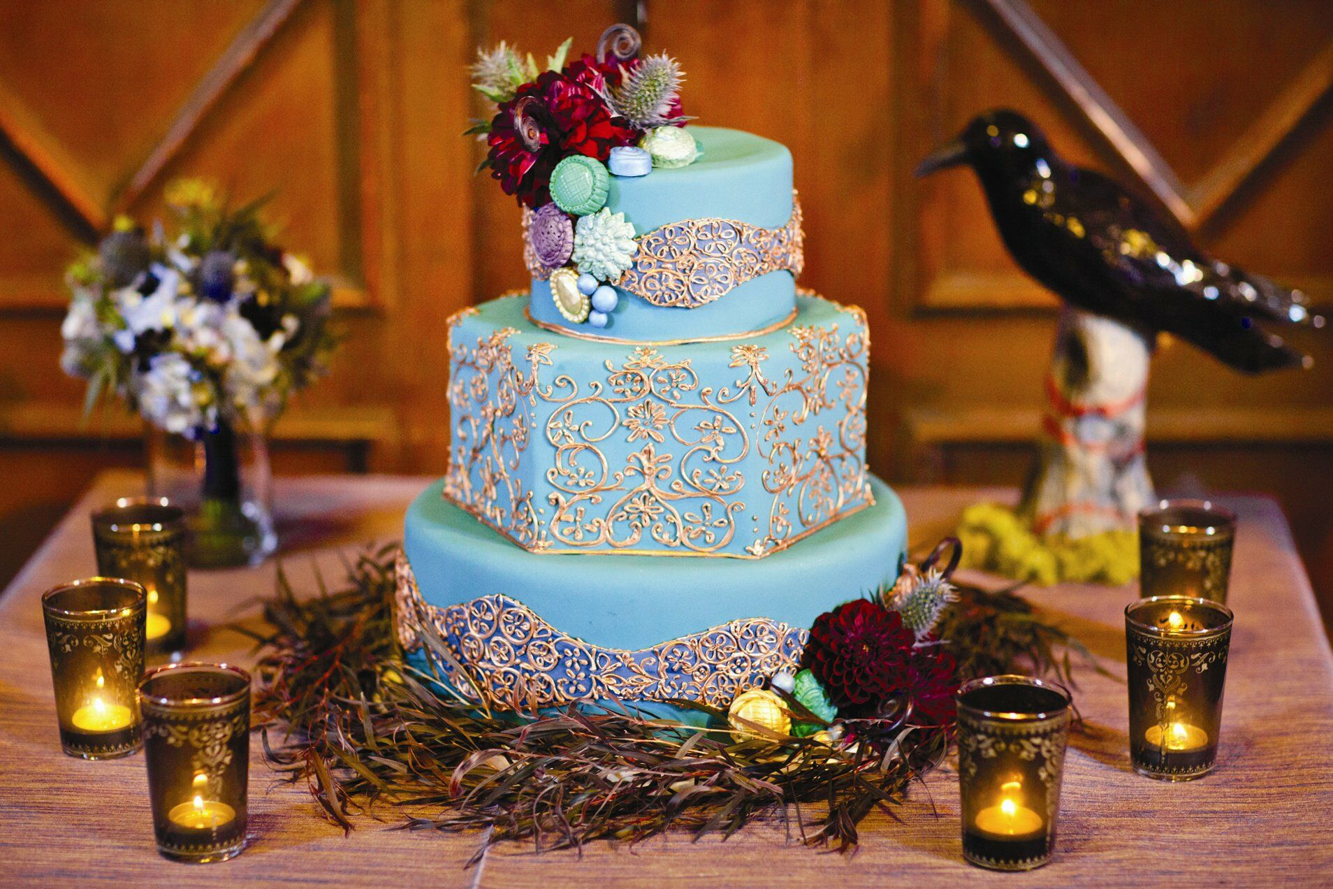 light blue and gold wedding cakes light blue and gold wedding cake 16847