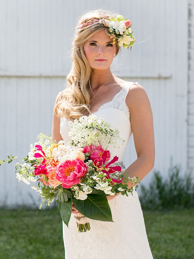 22 bridal flower crowns perfect for your wedding white and pink bridal flower crown dhlflorist Images