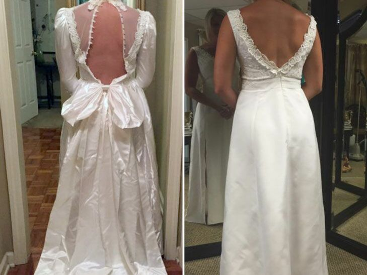 Bride updated moms wedding dress from 80s and surprised her wares mom was so surprised and moved when she saw her daughter wearing the beautifully transformed wedding dress at the reception she loved it junglespirit Gallery