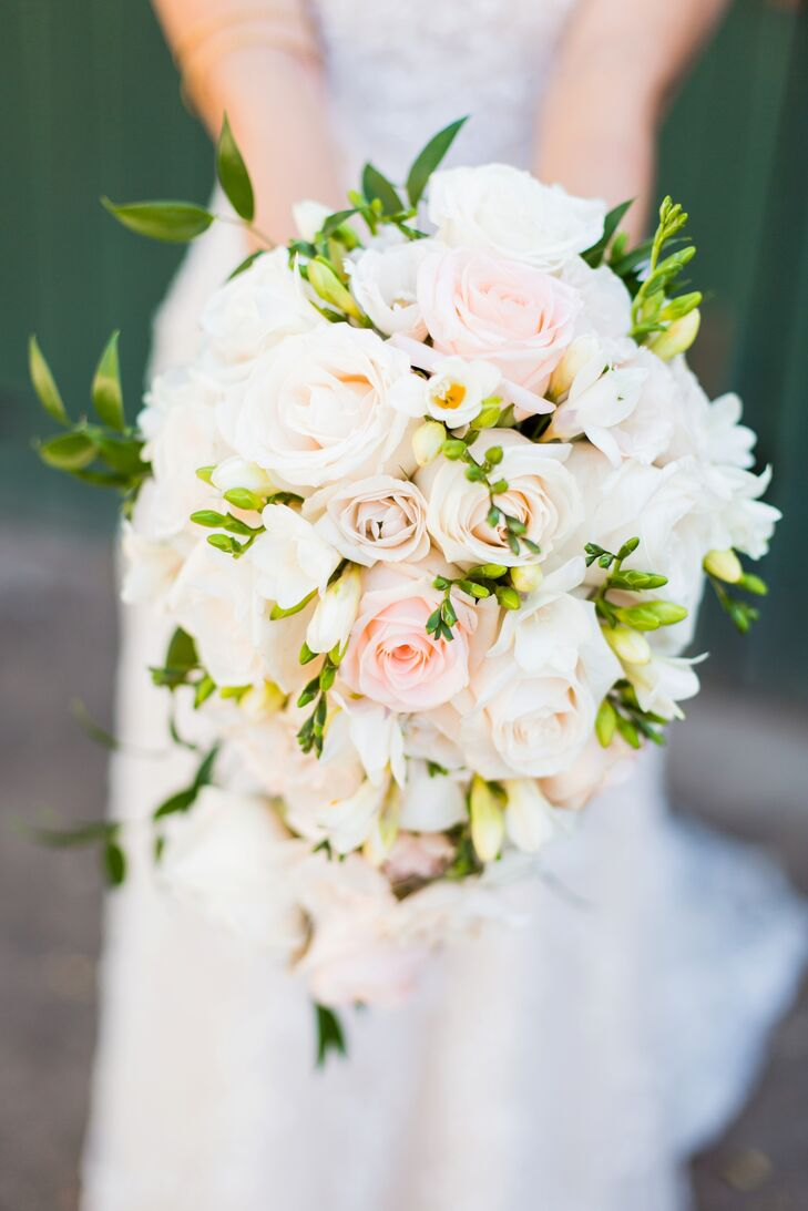 Cascading Blush And Ivory Rose Bouquet