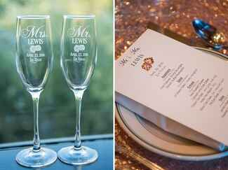 wedding reception table setting and champagne flutes