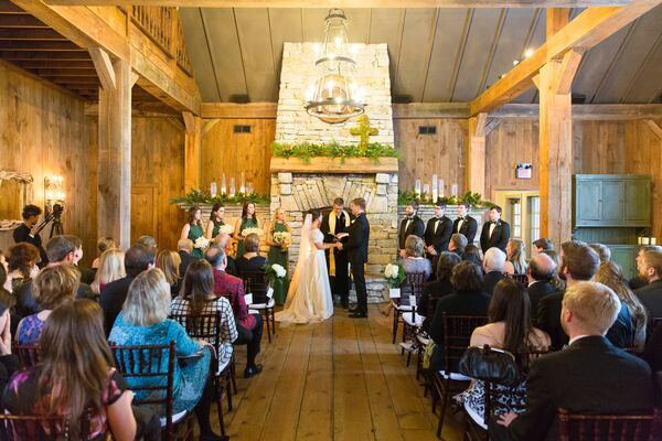 Rustic Wood and Gothic Chandelier-Decorated Wedding Ceremony