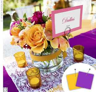 Purple, yellow reception centerpiece