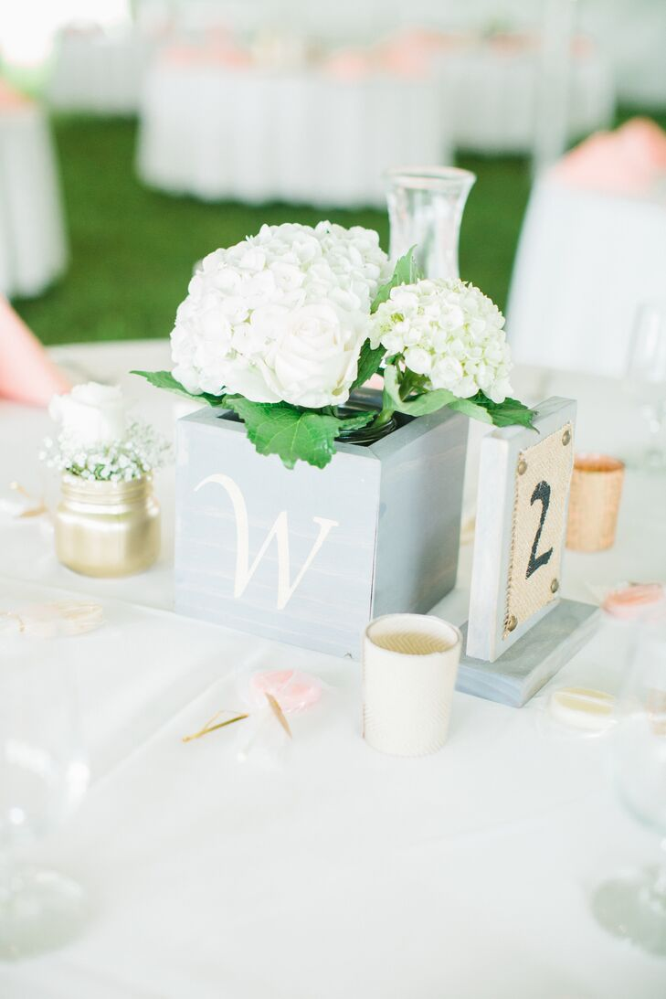 Monogram Box Centerpieces with White Hydrangeas and Burlap Table Numbers