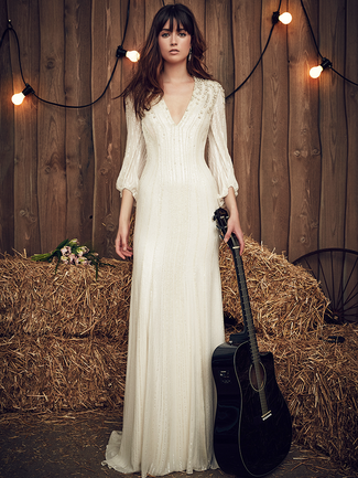 Jenny Packham Spring 2017 gypsy-inspired wedding dresses with crystal and sequin embellishment