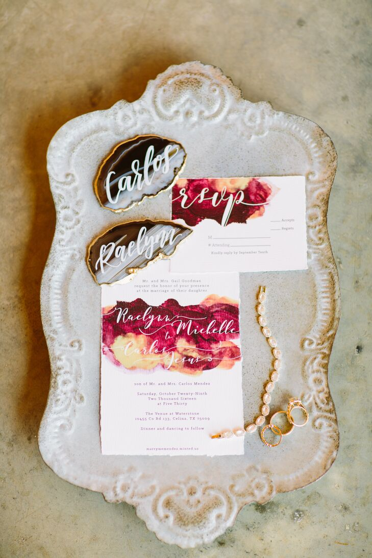 Burgundy and Gold Watercolor Wedding Invitations
