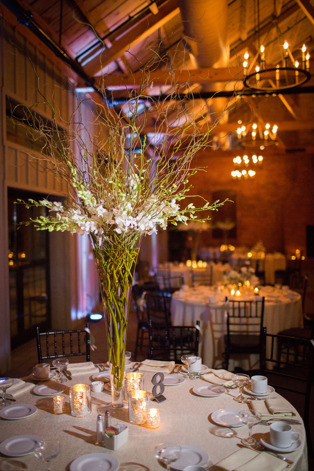 Tall Orchid And Willow Branch Centerpieces And Diy Table