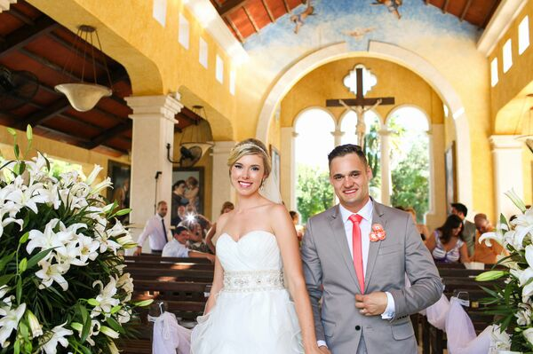 Erin and Paulo Recessional From Riviera Maya Chapel