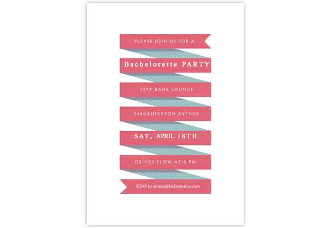 Bachelorette party and bridal shower online invitations: Greenvelope / TheKnot.com