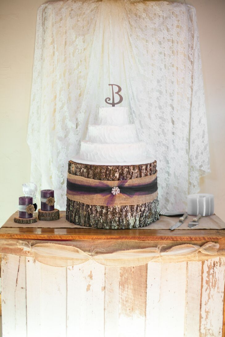 & Rustic Tree Bark Wedding Cake Stand