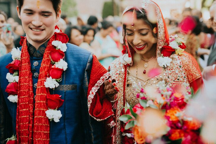 Anjali Gupta (27 and a water resources engineer) and Christophe Locussol (27 and a geotechnical engineer) pulled off a glamorous fusion fete that paid