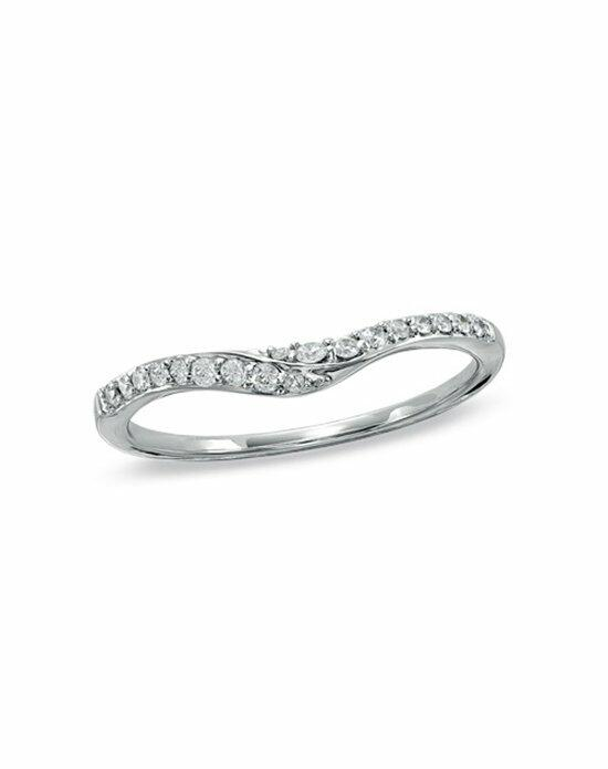 Zales 1/6 CT. T.W. Diamond Swoop Contour Wedding Band in 14K White Gold  18154633 Wedding Ring photo