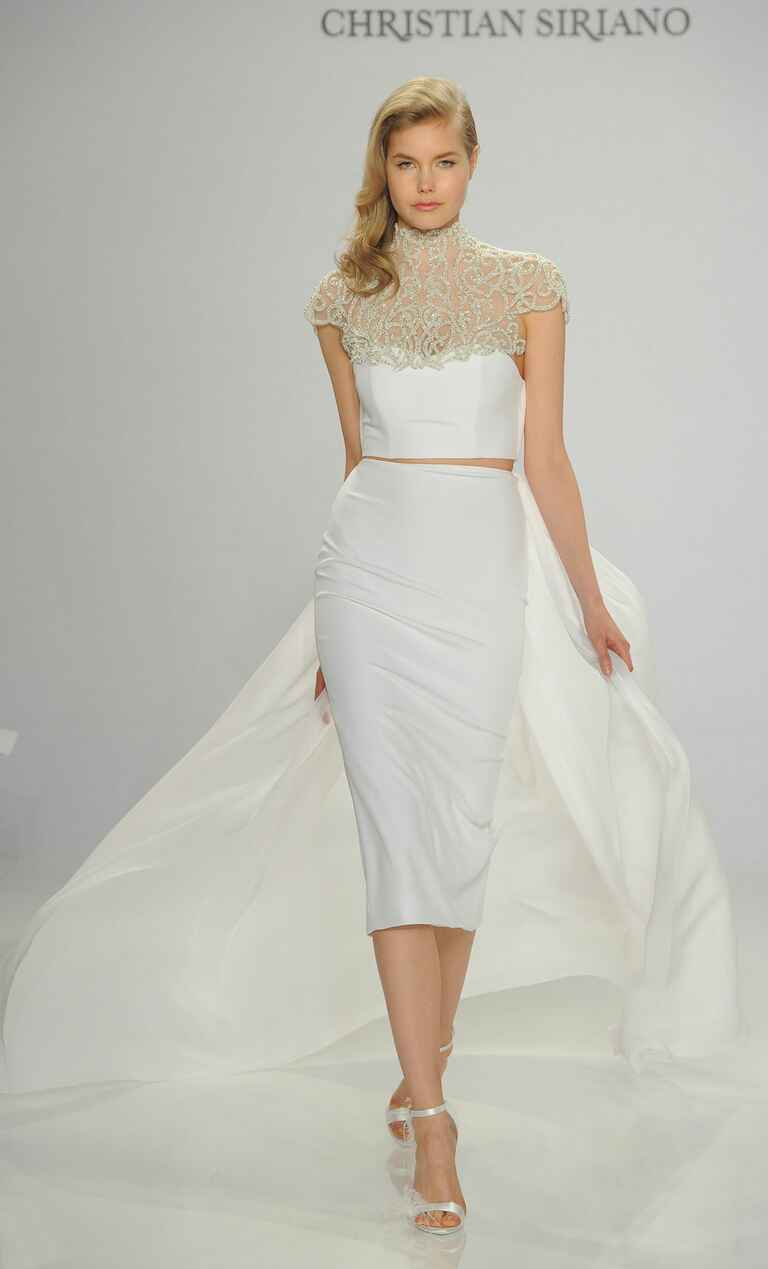 Christian Siriano Spring 2017 embroidered collar and strapless cropped wedding dress with train