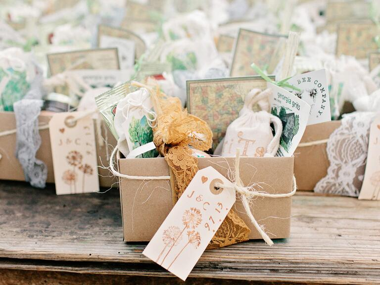 Rustic welcome baskets