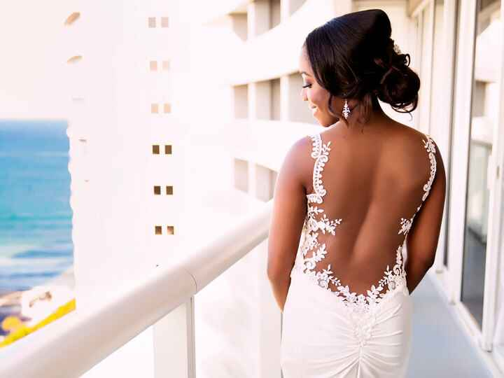 bride in dress with plunging back