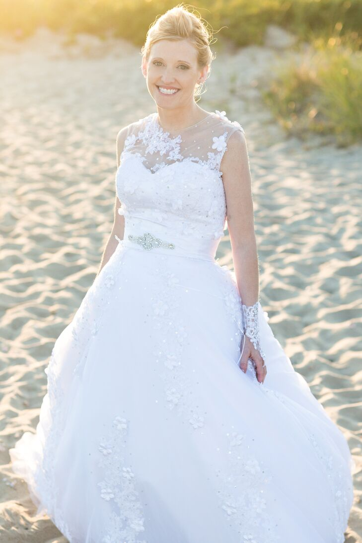 Fit and Flare, Lace Wedding Dress with Sheer Neckline