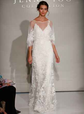 Jenny Yoo Fall 2016 wedding dress with sheer sleeves with lace detail over V neck with lace detailed bodice and skirt