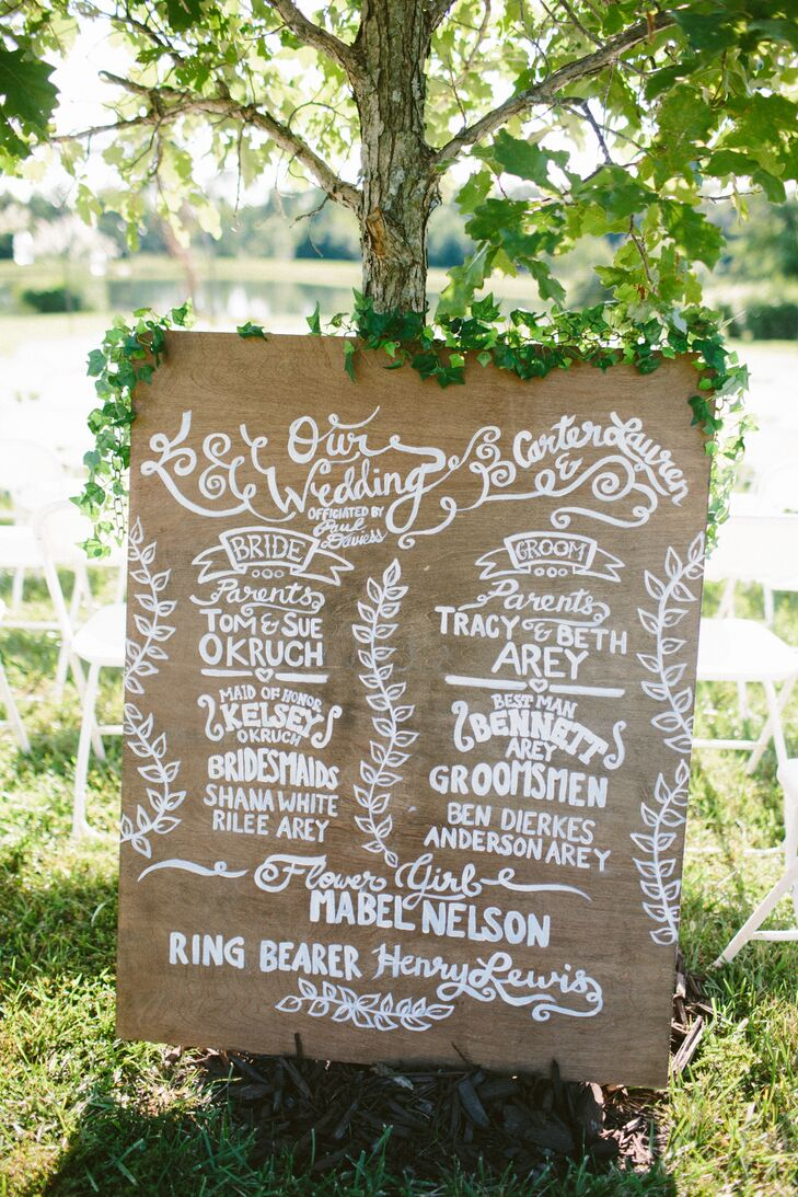 Instead of handing out programs, Lauren and Carter introduced their wedding party and parents on a hand-painted wooden sign dripping in green ivy.